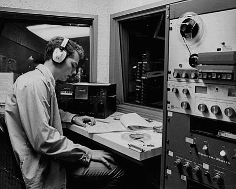 KCSB control room in the 1980's.