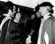 Robert Young (center) meeting his hero, Linus Pauling, at USC medical school commencement. Young cherished this photograph as a memento of that encounter.