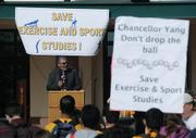 UCSB Dean of Social Sciences Melvin Oliver speaks to the crowd at the ESS rally Friday Nov. 20, 2009