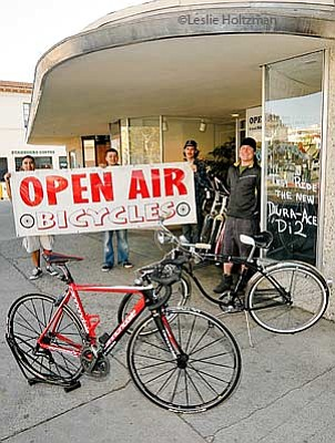 Open Air Bicycles; owner Robert Cisney (right) and crew.