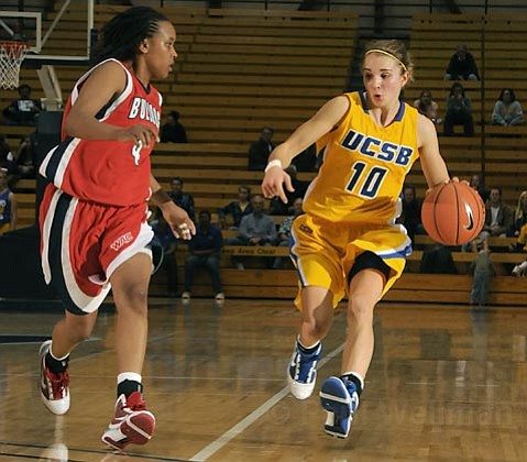 Gaucho sophomore Emilie Johnson is UCSB's second-highest scorer, averaging 14.4 points per game. The guard, shown here during the 2009 home-opener against Fresno State, leads the team in assists and steals.