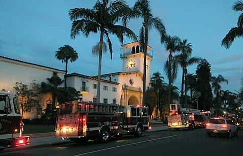 Santa Barbara City Fire department respond to a report of fire at the Courthouse Jan. 5, 2010