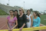 L to R Liz Gomez, Veronica Duran, Queenie Longley, Andrea Rosales, and Denisse Elizarraraz after a workout at La Playa Stadium head to Longboards for lunch