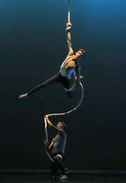 Harley Murray (above) and Russ Glick (below) brought power and grace to their aerial dance duet.