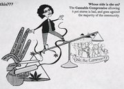A cartoon image of Mayor Helene Schneider depicted in the mailer sent out by Santa Barbara Citizens Against Marijuana Dispensaries