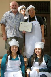 Chef Ian Trenwith with Culinary Arts Project Coordinator Anita Ho (right) and wife Diane Trenwith (top) and students Veronica and Angelica Dominguez (bottom left and right).