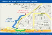 Map of temporary closures on Cathedral Oaks Road and Calle Real