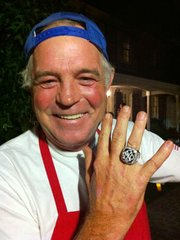 Not only were Connell's hot dogs a hit with the crowd—to the bewilderment of the gourmet chefs at the party—but Jacobs, impressed by the vendor's evident passion for baseball, gave him temporary custody of a genuine 2009 World Series championship ring, encrusted with 119 diamonds.