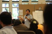 Jorge Alberto Garcia, parent of a student at SB Junior High speaks to the group.