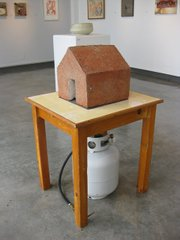 "Ceramics artist Christopher Bates created the sculpture ""Learning about home"" (2009-2010) out of clay—and propane."