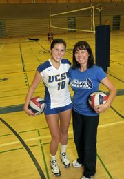 UCSB volleyball player Dana Vargas with her mother Debbie Green who is a volunteer assistant coach. Debbie is an Olympic medalist (1984) and one of the all-time best setters.