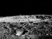 Copernicus features central peaks rising above the crater floor and rugged crater walls.