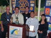 Bill Boyd, Rotary President; David Velarde, Rotary member; Cory Adams, teacher; Richard Romeo, student of the month, with his mother.