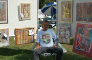 Rodger Casier and samples of his work for sale.