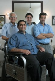 Matt Sanchez (seated) and (standing from left) Jess Martinez, Tim Sanchez, and Richie Ramirez.