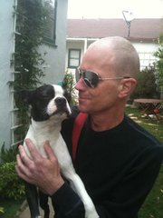 Chris Stanley and his dog, Petey.