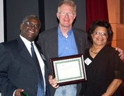 Pastor Wallace Shephard, Emcee Ed Begley Jr., and Onja Brown-Lawson