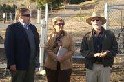 Marc Chytilo, of the Goleta Valley Land Trust, speaks alongside Doreen Farr and Erik Axelson.