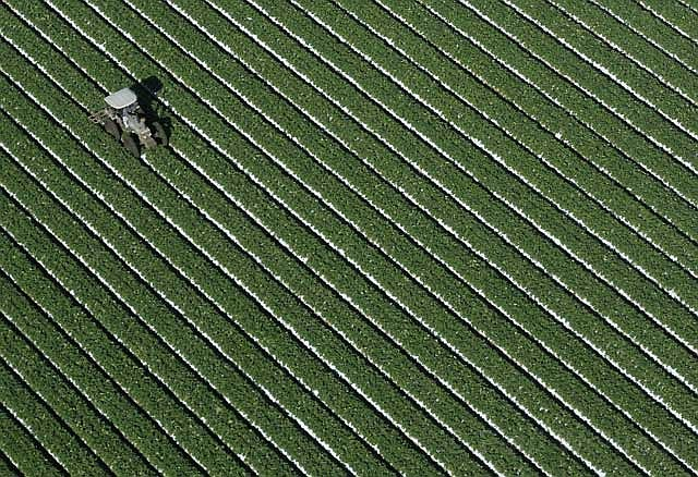 An arial view of agricultural work in Oxnard.