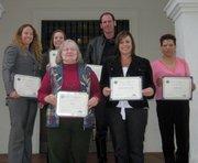 Commission Award recipients from left to right (top) : Tara Haaland-Ford, Melissa Wilkins, Officer Carl Kamin, (bottom) Janice Rorick, Christie Haines, Susana Madrueno Gonzalez.