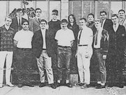 Spring 1966 KCSB board (Denis Dutton front row, third from left).