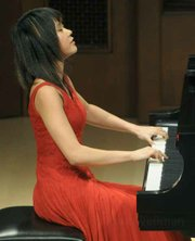 Yuja Wang at the piano in Hahn Hall during her April 2009 appearance.