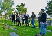 "Josh Shimmin's ""skeleton crew"" shoots at the Santa Barbara Cemetery."