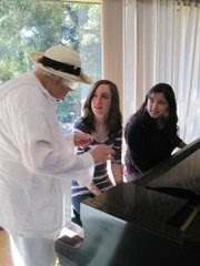 Casa Dorinda resident Dr. Perlette Mishon with students Dawn Isherwood and Anjanette Aguliar