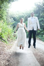 Austin and Julie Lomeli were married at Wiggy Ranch in Carpinteria.