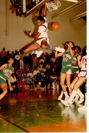 Royals basketball starter Anthony Hunter made a spectacular slam dunk against Inglewood in this 1981 game.