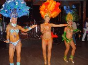 Some of the Brazilian samba dancers in Carnaval get-up at the SOhO event.