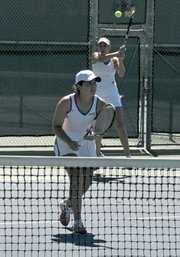 Jordan Dockendorf  and Natalia Lozano slam and volley for UCSB's women's tennis team.