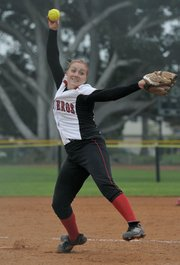 "SBCC pitcher Kailey Snyder earned the nickname ""Hurricane"" for her wicked fastballs."