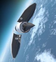 Artist rendering of Falcon Hypersonic Technology Vehicle 2 separating from rocket