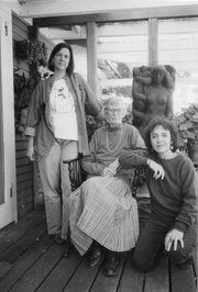 Betty Williams with 2 daughters, Barry and Seyburn at home at Buttonwood, 2004. Photo by Toby Zorthian.