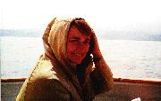 Beth Wood headed toward Santa Cruz Island, 2001.