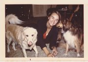 Beth Wood at home with dogs, 1970s