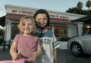Natasja Clark-Bruun, 4, and brother Zander Clark, 7, at McConnell's Fine Ice Cream.
