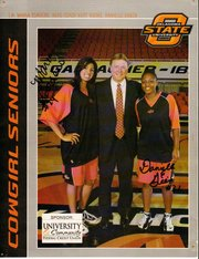 In a poster from 2008, Maria Cordero (left), a former Santa Barbara High standout and a two-year starter for Oklahoma State, poses with teammate Danielle Green and their coach Kurt Budke, who died on November 17 in an airplane crash.