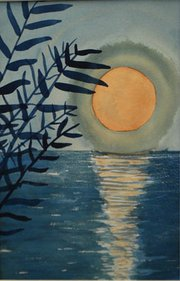 """Baja Moon,"" watercolor painting by Libby Whaley, Wellness Program participant"