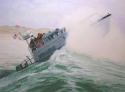 """""""Surf Training"""" painting by R.C. Guthrie now in the Coast Guard Art Collection"""
