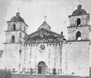 <strong>WISDOM OF WINDOWS:</strong>  It took some archival detective work to determine that the original design of Mission Santa Barbara's central window was reminiscent of rose petals, as this 1870 photograph by Carleton Watkins reveals.