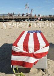 Arlington West memorial at Santa Barbara's Stearns Wharf Feb. 5, 2012