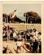 "Uelses goes over the bar at 16' 3/4"" to set a new world record in the pole vault at the Santa Barbara Easter Relays on March 31, 1962."