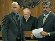 From left to right: Senior Deputy District Attorney Hans Almgren, Judge George Eskin, and Vargas's defense attorney Ron Bamieh (April 9, 2012)