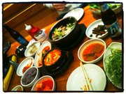 The Koreatown lunch spread.