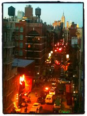The view from the author's rented flat on Mulberry Street in Little Italy.