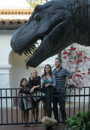 (L to R) Jocelyn, Emily, Jessica, and Jamie check out the T. rex.