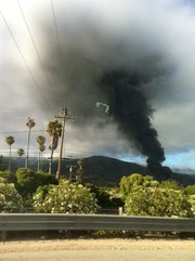 Carpinteria greenhouse fire seen from Highway 101 (July 16, 2012)