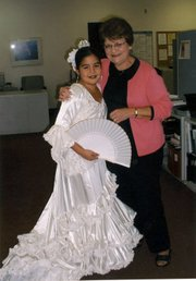 The author and her grandaughter Marissa Urzua, age 12, Jr. Spirit of Fiesta 2003.